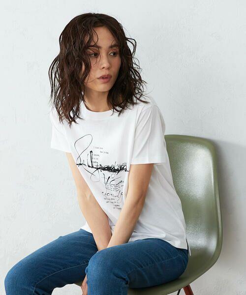 COMME CA ISM / コムサイズム Tシャツ | 《コットン》 クルーネック プリントTシャツ(ホワイト)