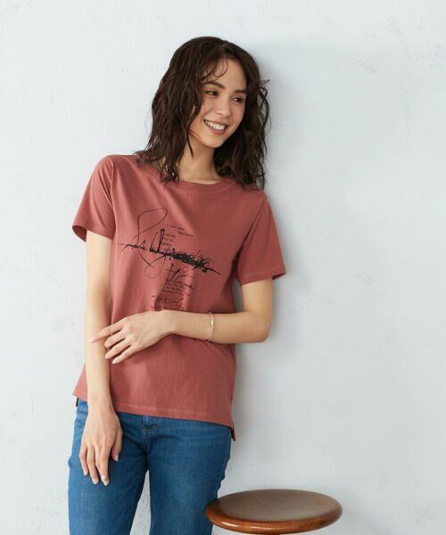 COMME CA ISM / コムサイズム Tシャツ | 《コットン》 クルーネック プリントTシャツ(ローズ)