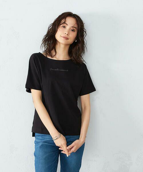COMME CA ISM / コムサイズム Tシャツ | 《コットン》 ドルマンスリーブ ロゴプリント Tシャツ(ブラック)