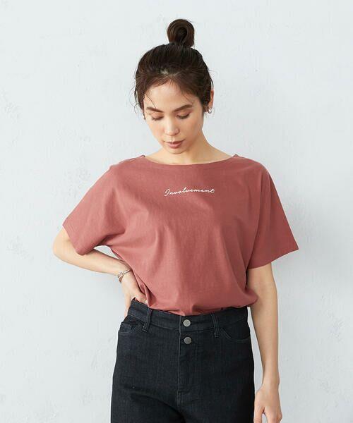 COMME CA ISM / コムサイズム Tシャツ | 《コットン》 ドルマンスリーブ ロゴプリント Tシャツ(ローズ)