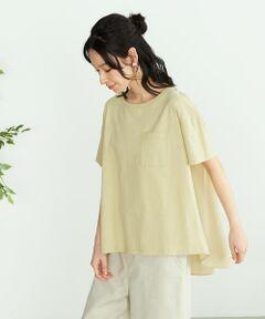 ◆ ONIGIRI(おにぎり)の オーガニックコットン バックフレア Tシャツ ◆<br><br>《素材》<br>環境に優しい、オーガニックコットンを使用した天竺素材です。<br>オープンエンド糸という繊維の中に空気を含んだ糸を使って、<br>表面に凹凸があり、清涼感のあるサラリとした風合いが特徴です。<br>別地には、薄手ですが程よいハリ感のあるコットンローンを使用。<br>軽やかで、なめらかな肌触りが特徴です。<br><br>《デザイン》<br>ゆるやかに広がるAラインシルエット。<br>ゆったりとしたサイズ感と、後ろ丈が長いロングテールでナチュラルに腰まわりをカバー。<br>たっぷりとフレアの入った後ろ身頃は、コットンローン素材で切り替え、<br>軽やかに広がる上品な印象に。