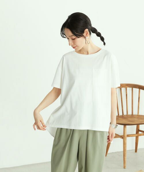 COMME CA ISM / コムサイズム カットソー | 《オーガニックコットン》 バックフレア Tシャツ(ホワイト)