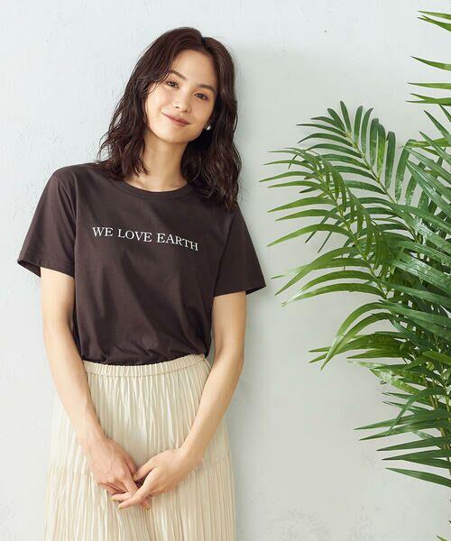 COMME CA ISM / コムサイズム Tシャツ | プリントTシャツ(ブラウン)