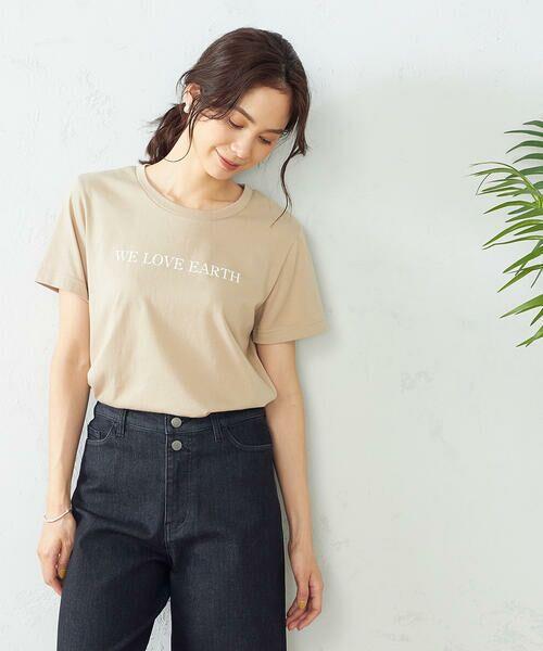 COMME CA ISM / コムサイズム Tシャツ | プリントTシャツ(ベージュ)