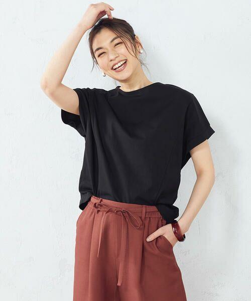 COMME CA ISM / コムサイズム Tシャツ | フレンチスリーブ Tシャツ(ブラック)