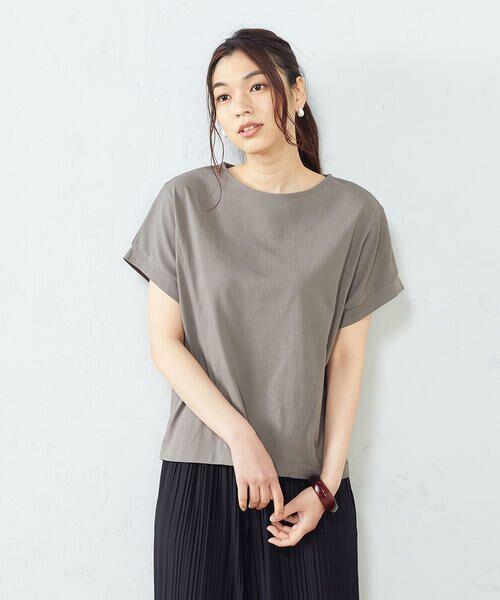 COMME CA ISM / コムサイズム Tシャツ | フレンチスリーブ Tシャツ(チャコール)