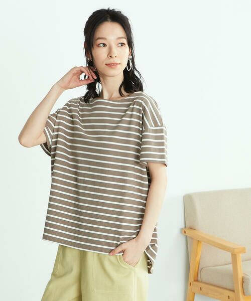 COMME CA ISM / コムサイズム Tシャツ | 〈オーガニックコットン〉バックスリットボーダー半袖Tシャツ | 詳細9