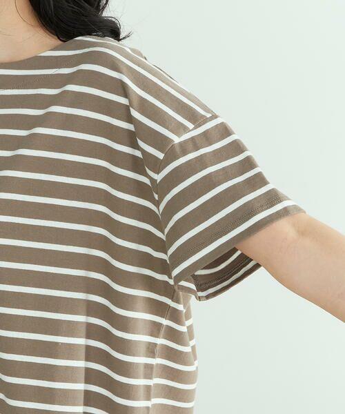 COMME CA ISM / コムサイズム Tシャツ | 〈オーガニックコットン〉バックスリットボーダー半袖Tシャツ | 詳細14