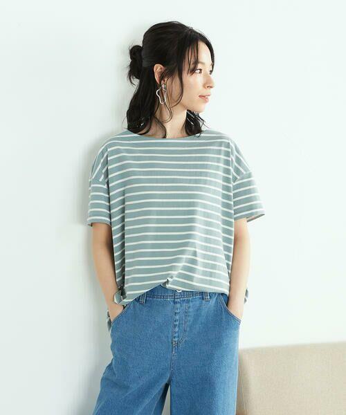 COMME CA ISM / コムサイズム Tシャツ | 〈オーガニックコットン〉バックスリットボーダー半袖Tシャツ | 詳細19