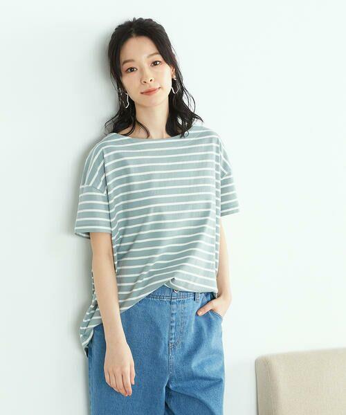 COMME CA ISM / コムサイズム Tシャツ | 〈オーガニックコットン〉バックスリットボーダー半袖Tシャツ(ターコイズ)