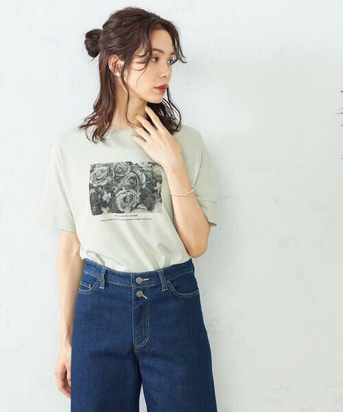 COMME CA ISM / コムサイズム Tシャツ   フォトプリント Tシャツ(ミント)