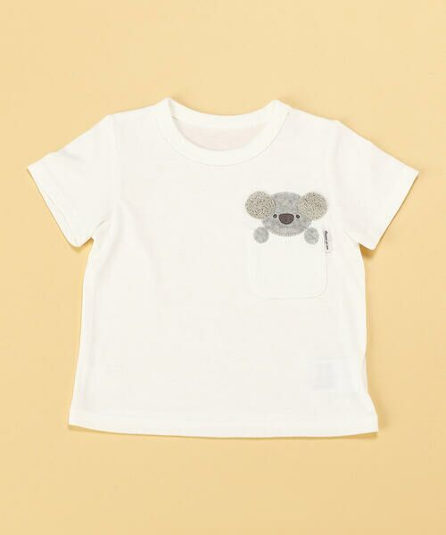 COMME CA ISM/コムサイズム 動物アップリケ付き 半袖Tシャツ(80・90サイズ) ホワイト 80cm