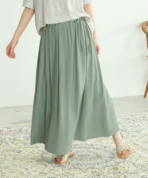COMME CA ISM / コムサイズム ロング・マキシ丈スカート | ワッシャー加工 ギャザースカート(ターコイズ)