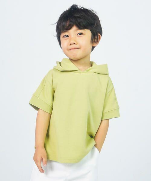 COMME CA ISM/コムサイズム フード付きTシャツ イエローグリーン 100cm