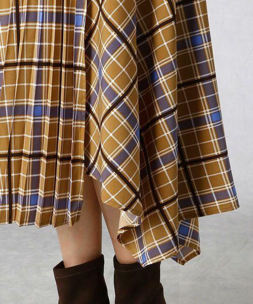 Comme ca Mature / コムサマチュア ロング・マキシ丈スカート | アシンメトリー チェックプリント スカート | 詳細6