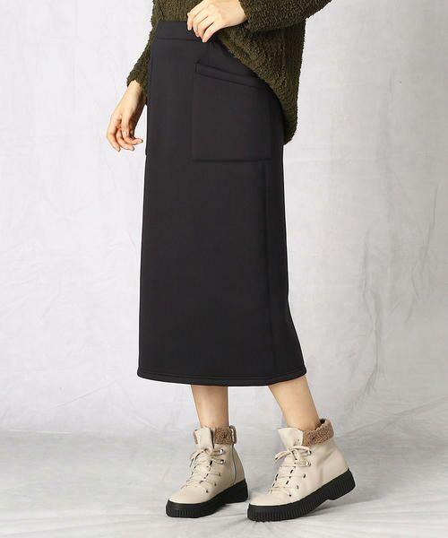 Comme ca Mature / コムサマチュア ミニ・ひざ丈スカート   ロングタイトスカート(ブラック)