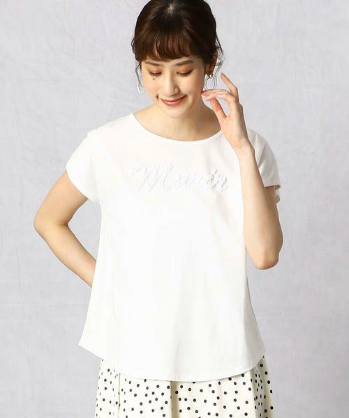 Comme ca Mature / コムサマチュア Tシャツ | シルケット風天竺 スパンコールロゴTシャツ(ホワイト)