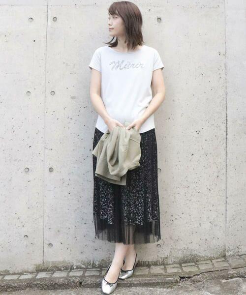 Comme ca Mature / コムサマチュア Tシャツ | シルケット風天竺 スパンコールロゴTシャツ | 詳細3