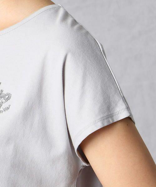 Comme ca Mature / コムサマチュア Tシャツ | シルケット風天竺 スパンコールロゴTシャツ | 詳細9