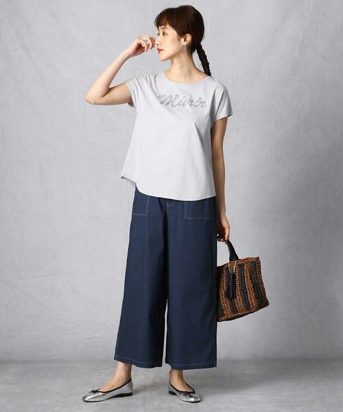Comme ca Mature / コムサマチュア Tシャツ | シルケット風天竺 スパンコールロゴTシャツ | 詳細4