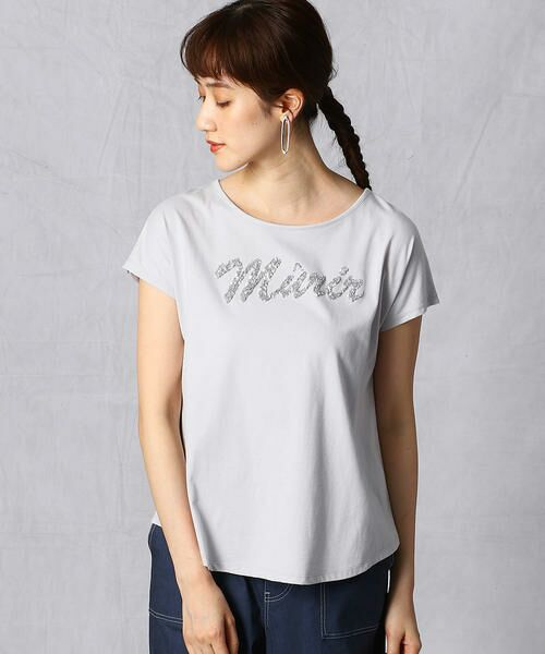 Comme ca Mature / コムサマチュア Tシャツ | シルケット風天竺 スパンコールロゴTシャツ | 詳細5