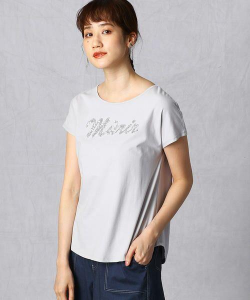 Comme ca Mature / コムサマチュア Tシャツ | シルケット風天竺 スパンコールロゴTシャツ(ライトグレー)
