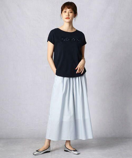 Comme ca Mature / コムサマチュア Tシャツ | シルケット風天竺 スパンコールロゴTシャツ | 詳細13