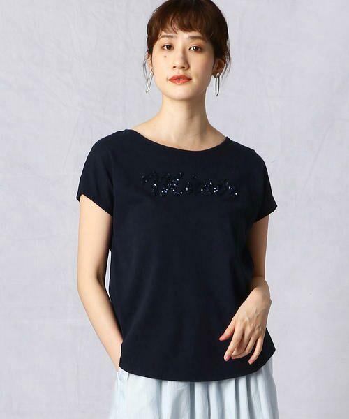 Comme ca Mature / コムサマチュア Tシャツ | シルケット風天竺 スパンコールロゴTシャツ(ネイビー)
