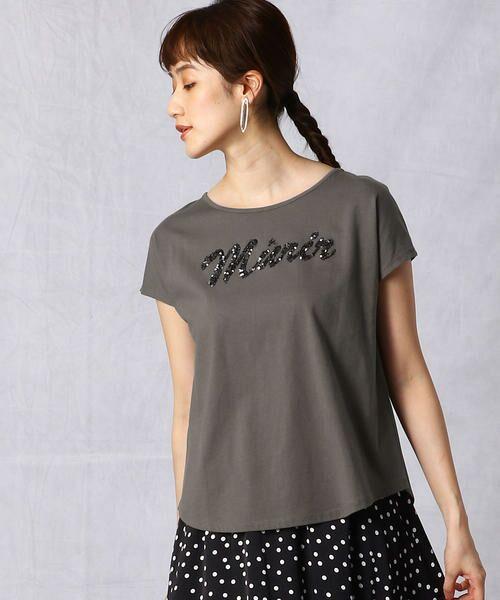 Comme ca Mature / コムサマチュア Tシャツ | シルケット風天竺 スパンコールロゴTシャツ(カーキ)