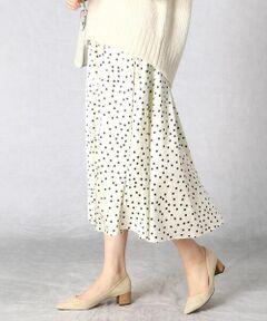 ■同素材のブラウスと合わせればセットアップにも 爽やかで上品な小さめドットのフレアスカート■<br><br>・ダルサテンのランダムドットと、シフォンジョーゼットのやや小さめで均等なドットを組み合わせたギャザーフレアースカート。<br>・素材の厚み、透け感、柄の違いで奥行きを感じられるデザインになっています。<br>・色々なアイテムと合わせやすい、着まわしに活躍する1着。<br>・ご家庭で手洗いでのお洗濯が可能。<br><br>《セットアップ》<br>同素材のブラウス (商品番号:80-16IQ05-200)と合わせて、<br>セットアップとしてお召しいただけます。<br>※在庫がない場合もございますので、予めご了承くださいませ。