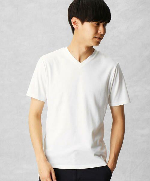 COMME CA MEN / コムサ・メン Tシャツ | ゼロステイン VネックTシャツ(ホワイト)