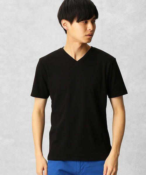COMME CA MEN / コムサ・メン Tシャツ | ゼロステイン VネックTシャツ(ブラック)