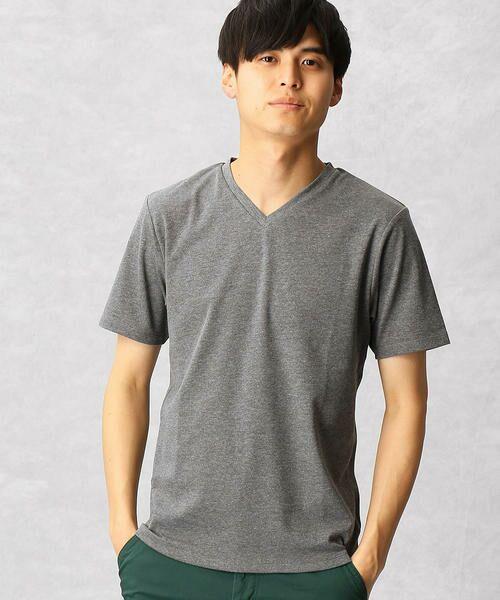 COMME CA MEN / コムサ・メン Tシャツ | ゼロステイン VネックTシャツ(チャコールグレー)