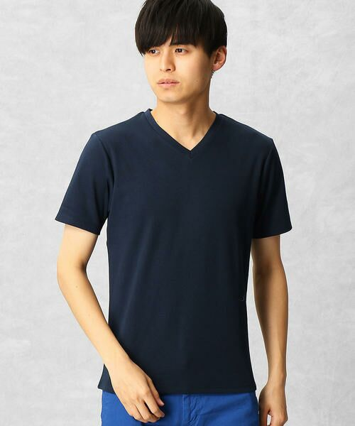 COMME CA MEN / コムサ・メン Tシャツ | ゼロステイン VネックTシャツ(ネイビー)
