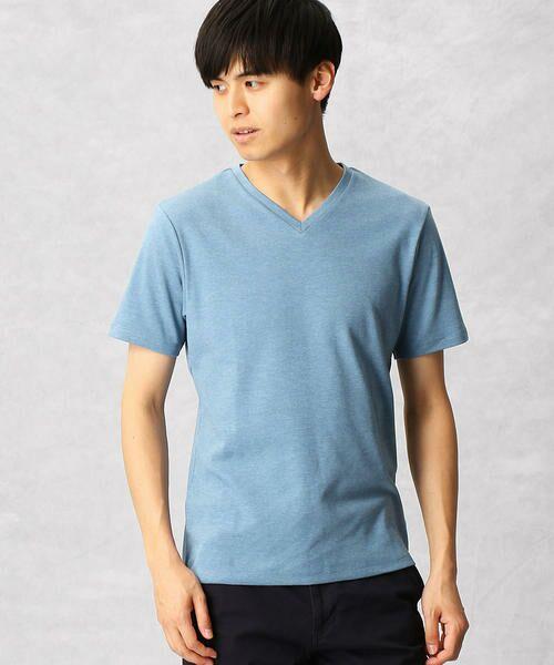 COMME CA MEN / コムサ・メン Tシャツ | ゼロステイン VネックTシャツ(ブルー)