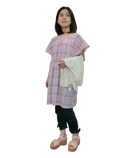 爽やかな楊柳マドラスチェックチュニックのコーディネイト。これからの季節サラっと着やすいチュニックです!