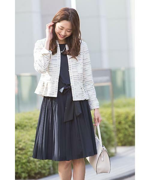◆セレモニーSTYLE◆ 大切な日こそジャケット+ワンピースでエレガントに。 ツイードで春らしく上品な装いです。