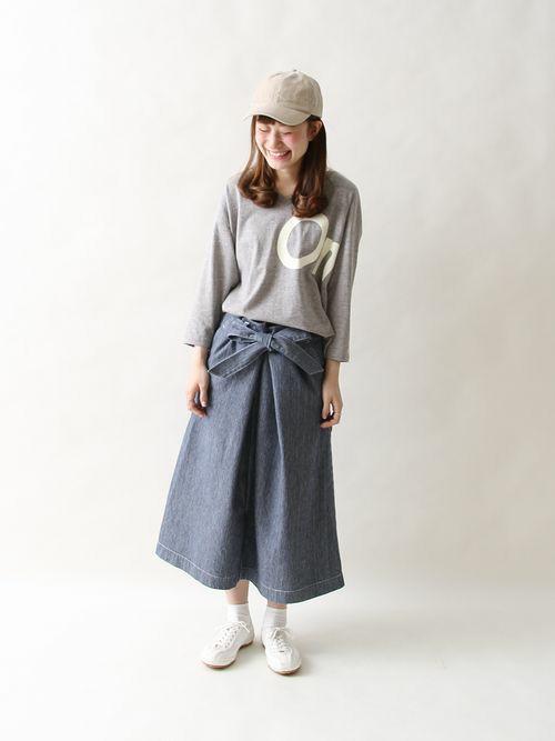 アメリカの老舗ワークウェアブランド「SMITH」より ウエストリボンがアクセントになったスカートが登場!  身長:158cm