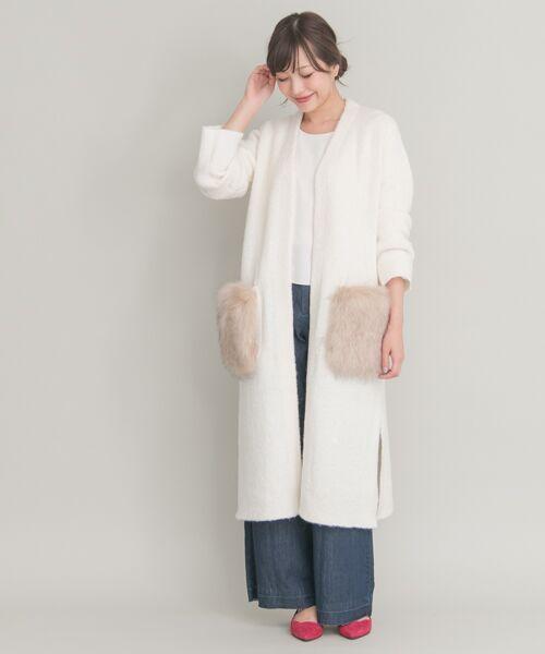 ファーポケットがとっても可愛らしいカーディガン♪ コートはまだ早い時期のライトアウターとしてもおすすめ。  モデル:164㎝