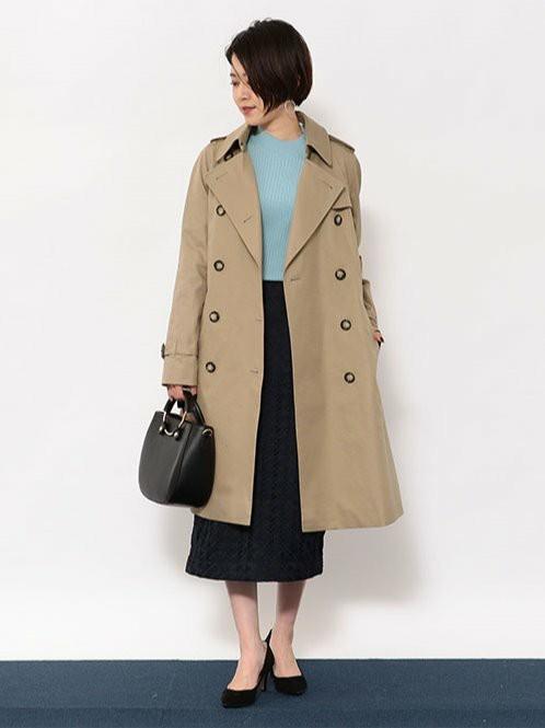 トレンチ×春カラー   コート(SIZE:36) ニット(SIZE:FREE) スカート(SIZE:36) シューズ(SIZE: 22.5cm) バッグ(SIZE:FREE)  155~159cm