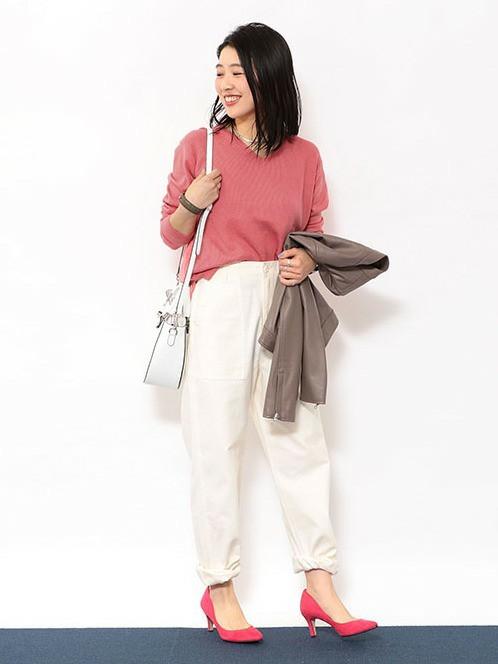 pink×white   ニット(SIZE:FREE) パンツ(SIZE:36) ジャケット(SIZE:36)  155~159cm