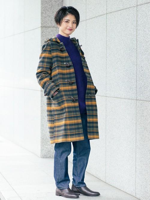 シックになりがちな寒い季節の着こなしをぐっと華やげるチェックコート。 パンツスタイルに取り入れるなら、シューズはショートブーツなどをあわせて大人の女性らしく。  モデル:160~164cm