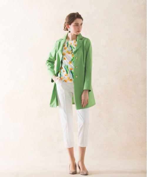 春らしいカラーで上品なイメージのアンチポラン(スギ花粉が付きにくい)加工スプリングコート