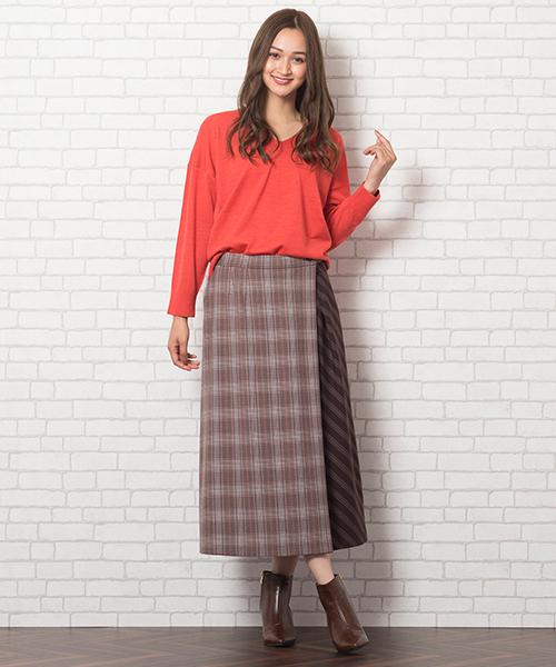 ◆大きいサイズ/L・LL◆ アシンメトリーなデザインが目を引くパッチワークスカート。 オレンジ×ブラウンで今年らしいカラーコーデです。 [モデル身長:173センチ]