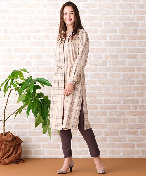 ◆大きいサイズ/L・LL◆ 今年らしい着こなしを楽しむチェックのロングワンピース レギパンを合わせるのが今年らしいポイント [model:173cm]