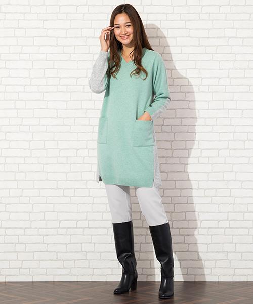 ◆大きいサイズ/L・LL◆ 洗練配色で進化したエレガントな大人のニットワンピ model:173cm
