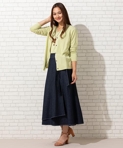 """シンプルで洗練された""""大人のニットアンサンブル"""" デニムラップスカートを合わせて着こなして! ◆大きいサイズ/L-LL◆ model:173cm"""