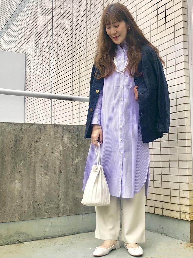 カバーオールジャケットは、パリッとした素材感と、オーバーサイズなシルエットが抜群に可愛い!  モデル身長:164cm