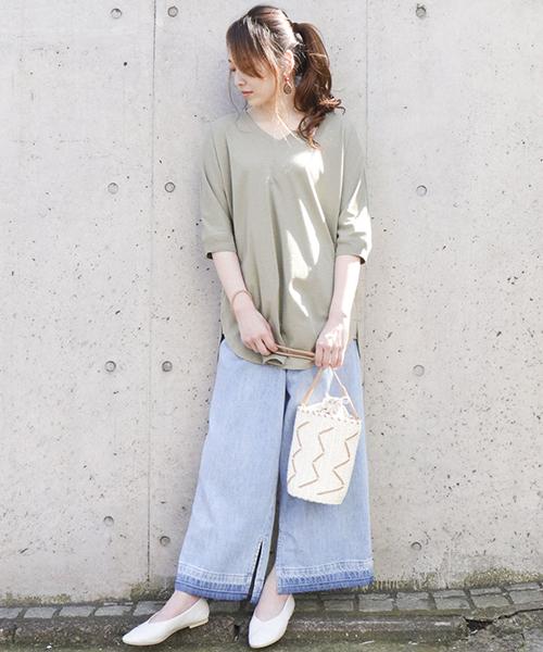【ONIGIRI】 ecoチュニックは、パンツと合わせて旬の着丈バランス♪ カラーリングは清涼感を意識!