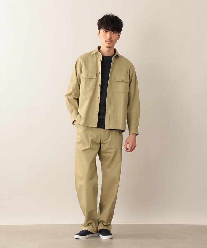 ヴィンテージミリタリーウェアの雰囲気漂うCPOシャツアウター。同素材のパンツと合わせて。
